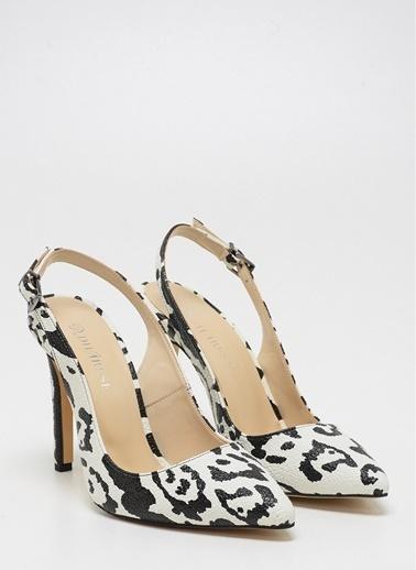 D by Divarese Leopar Topuklu Ayakkabı Beyaz